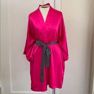 Hot pink satin Victoria's Secret lingerie robe